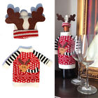 Christmas Santa Deer Knitted Coat Hat Wine Bag Bottle Cover Topper XMAS Decor