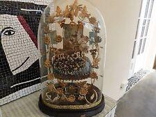Ancien GLOBE de MARIEE VASE Bouquet socle XIXe Napoleon 3 COURONNE Miroirs