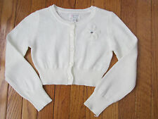 New Childrens Place Size S 5-6 Off White Cropped Flower Cardigan Sweater