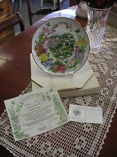 "DOT BARLOWE PLATE ""JAPANESE GARDEN"" GOLD TRIM 1988 RECO COLLECTORS PLATE"