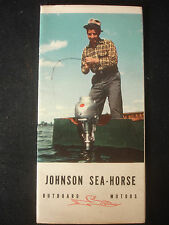 Old Vtg Johnson Sea-Horse 1940 Outboard Fishing Motors Information Brochure