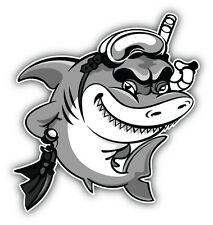 Shark Diver Cartoon Car Bumper Sticker Decal 5'' x 5''