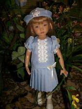 "Party Dress and Hat Set in Blue for Effner 13"" Little Darling Dolls"