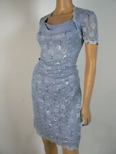 Alex Evenings Hydrangea Blue Lace Sequin Draped Chiffon Sheath Dress 8 NWT A839