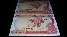 2 Singapore Orchid $10 note (running number)