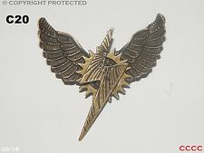 Steampunk jewellery brooch badge lightning bolt owl wings Harry Potter cosplay