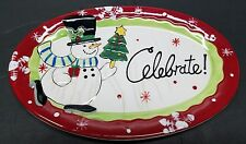 Fitz And Floyd Celebrate Christmas Xmas Snowman Plate Platter  Some Crazing