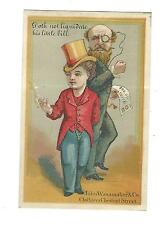 Old Trade Card John Wanamaker Philadelphia PA Man Monocle Top Hat Smoking Bill