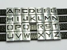 "26 Assorted Alloy Carved Alphabet Letter ""A-Z"" Slide Beads Charm Fit 8mm Wristba"