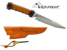 WILDSTEER CBCUP KNIFE BROWN LEATHER WRAPPED FIRE STEEL WILD STEER ARCHERY HUNTER