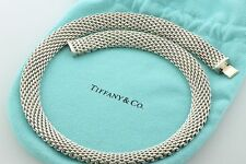 """Tiffany & Co. 12mm 0.5"""" Wide Somerset Mesh Sterling Silver 925 Necklace - 17.5"""""""
