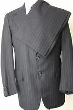 40R H Freeman Son Navy Blue Striped 100% Wool Mens Suit 32x31 MA7