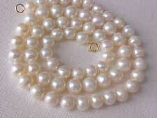 "16"" 6.5MM ROUND WHITE FRESHWATER PEARL NECKLACE SOLID 14K YELLOW GOLD CLASP #2"