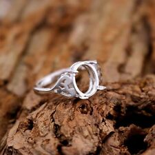 925 Sterling Silver 9X11mm Oval Cabochon Semi Mount Women Engagement Ring