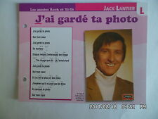 CARTE FICHE PLAISIR DE CHANTER JACK LANTIER J'AI GARDE TA PHOTO