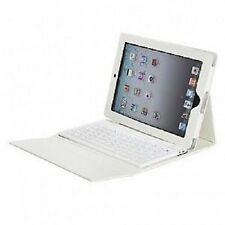 iPad 4 Retina display Genuin PU Leather Case Stand with Bluetooth Keyboard WHITE