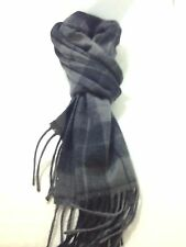 $425 CLUB ROOM Mens UNISEX BLACK GRAY PLAID WINTER MUFFLER CASHMERE SHAWL SCARF
