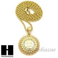 """HIP HOP ICED OUT GOLD ROUND ALLAH PENDANT 2mm 24"""" ROPE CHAIN NECKLACE SN243"""