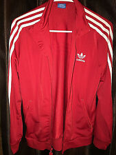 Adidas Red Vintage Logo White 3 Stripe Full Zip Mock Retro Track Jacket Firebird