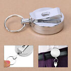 Stainless Silver Retractable Key Chain Recoil Keyring Heavy Duty Steel Cord Wire