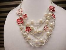 White House Black Market Necklace Pink Red Enamel Crystal Pearl  N460