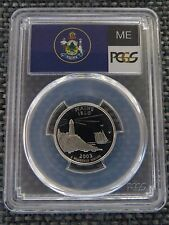 2003-S 25c Maine SILVER State Flag Label Quarter Proof Coin PCGS PR70DCAM
