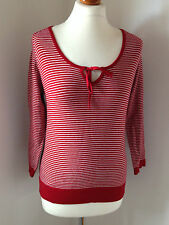 Esprit Red and White Striped Cotton Blend 3/4 Sleeved Scoop Necked Jumper Size M