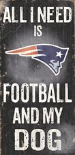 New England Patriots Football and Dog Wood Sign [NEW] NCAA Man Cave Den Wall