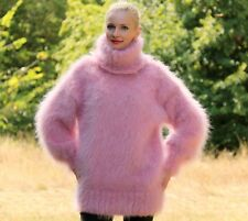 SUPERTANYA PINK Hand Knitted Sweater FUZZY Mohair Handgestrickte Sexy Jumper