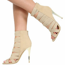 NEW WOMENS LADIES HIGH HEEL ELASTIC STRAPPY GLADIATOR CAGED SHOES SIZE 3-8