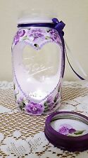 Purple Roses Shabby Chic Mason Jar Candle Holder Cottage Style Hand Painted