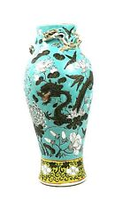 Antique Chinese 19th C. Porcelain Vase Moulded 3-D Dragons Turquoise Floral Gilt