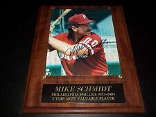 Mike Schmidt autograph signed 12X15 plaque 8X10 photo Phillies 3 time MVP 72-89