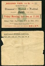1911 TRIENNIAL MUSICAL FESTIVAL TICKET + ENVELOP - SHEFFIELD ENGLAND