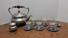 1970s Pewter & Porcelain Espresso Pot, Sugar Bowl, Cups, Saucers, Spoons ITALY
