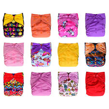 Charcoal Bamboo Cloth Pocket Diapers, 12-pack Bundle Set + 24 Inserts, Baby Girl