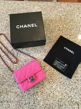 Authentic CHANEL Square Mini Classic Pink Lambskin Flap Bag Silver w/box/dustbg