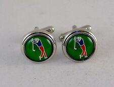 Novelty Cufflinks ~ Sports Theme, Cartoon Golfer ~ Fashion Jewelry NEW #5350270