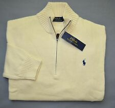 New L POLO RALPH LAUREN Mens half zip cotton Sweater Navy Blue jumper Large NWT