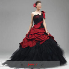 Gothic Red Black Wedding Dress formal Prom Gown A-line tulle one shoulder size