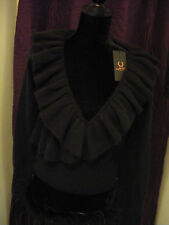 BNWT AMY WINEHOUSE FRED PERRY BLACK ANGORA CROP CARDIGAN SIZE 8
