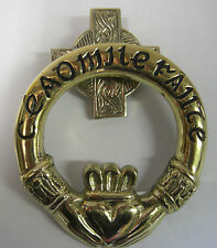 IRELAND HAND CRAFTED BRASS CLADDAGH MEDIUM CEAD MILE FAILTE DOOR KNOCKER