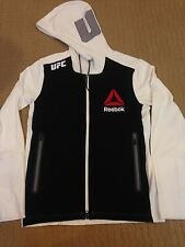 Men's Sz L Reebok Combat UFC Walkout Full Zip Hoodie - White/Black/Chalk