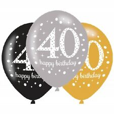 40th Birthday 6 Latex Balloons Gold Silver Black Happy Party Decorations Hanging