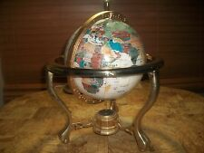 Large Ornate Vintage  Gemstone World  Globe  w Compass on Brass Stand