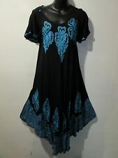 Dress Fits 1X 2X 3X Plus Black with Turquoise Batik Art A Shaped Tunic NWT G414
