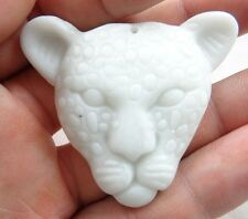 48*29MM Chinese jade hand-carved the statue of leopard head  agate  PENDANT r-60