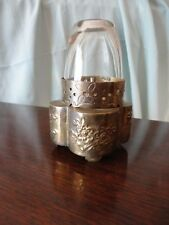 Brass Opium War Oil Lamp Tool Openwork Poppy Designs Glass Globe H K Fidelity