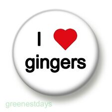 I Love / Heart Gingers 1 Inch / 25mm Pin Button Badge Red Head Carrot Top Hair