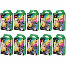 10 Packs 100 Photos Rainbow FujiFilm Fuji Instax Mini Film Polaroid 7S 8 25 SP-1